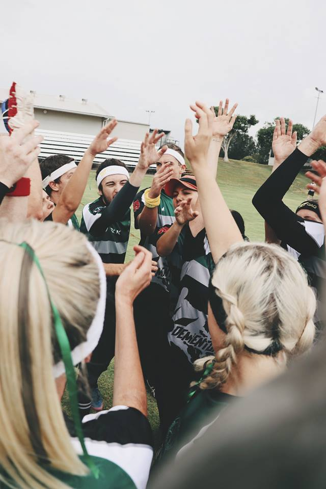 USC Quidditch League players cheering at the Australian Quidditch Championships. Photo: Jane Larkin