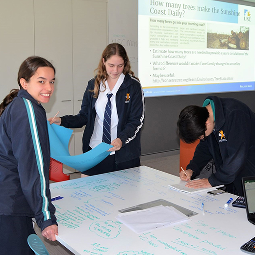 Students from Chancellor State College compete in the Maths Modelling Challenge at USC.