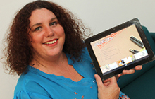 Creative Writing student Donna Thompson displays her eBook 'Collected'