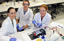 USC Biomedical Science students Colette Deschamps, Adam McCulloch and Donna Langley in the USC laboratory
