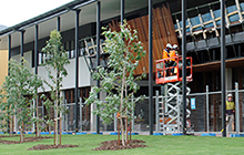Workers add the finishing touches to USC's $25 million Sippy Downs Learning Hub