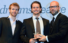Luis Grolez and Damian Brennan (DreamsCreative), Matthew Wallhead (Awards presenter and General Manager of Terrapinn Middle East)