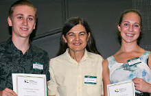 Judy Renouf congratulates Renouf Family Scholarship recipients James Cran and Natalie Woods.