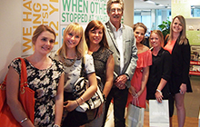 USC Professor in Advertising Dr Rod McCulloch with students, from left, Ashleigh Lomas, Emma Nevison, Kirrilee Murray, Susan Bohmer, Bridget McCulloch and Caitlin Tremellen in Singapore.