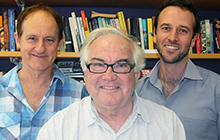 USC's Creative Writing academics, from left, Dr Paul Williams, Associate Professor Gary Crew and Dr Ross Watkins