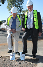 Roy Thompson and Greg Hill turning first sod of multi-level carpark