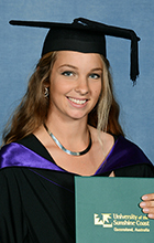 Rebecca Wilson in her graduation garb - photo by Silver Rose Photography