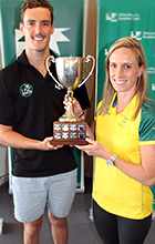 Blake Cochrane receives trophy from Alana Boyd