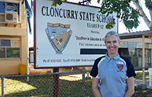 Gillian Gardiner outside Cloncurry State School