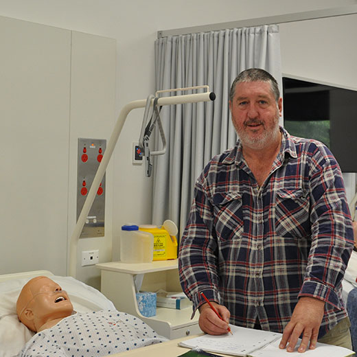 Tomato farmer turned nursing science student Richard MacDonald at the USC Gympie campus