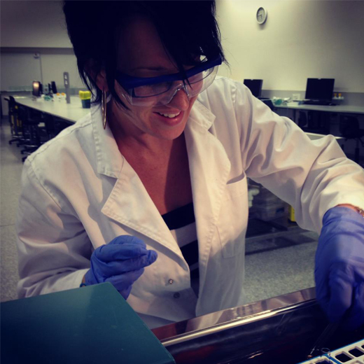 Lainey Flint working in the lab