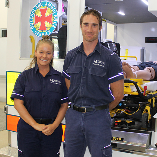 Matilda Phillips & Cameron Leman with the state-of-the-art ambulance simulator at USC