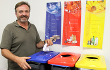 USC Project and Operations Officer Paul Camilleri with the new bins