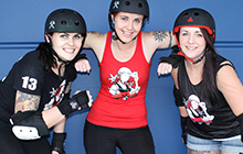 USC roller derby enthusiasts Jessica Doak, Sarah Berneville-Claye and Stacey Mills